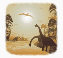Dinosaurs on Tropical Jurassic Landscape Kids Tee