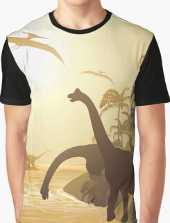 Dinosaurs on Tropical Jurassic Landscape Graphic T-Shirt