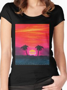 Retro sunset 2 Women's Fitted Scoop T-Shirt