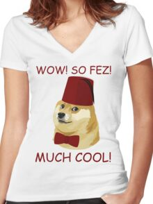 Funny Doge Meme - Parody - So Fez T Shirt Women's Fitted V-Neck T-Shirt