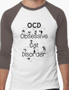OCD - Obsessive Cat Disorder - Cute and Whimsical Black Kitty Cats Men's Baseball ¾ T-Shirt