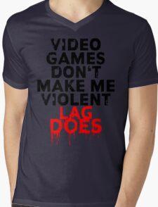 Videogames don't make me violent Mens V-Neck T-Shirt