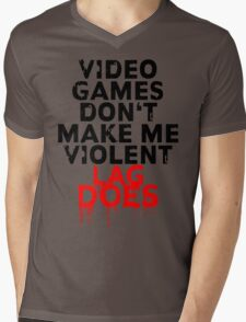 Videogames don't make me violent Mens V-Neck T-Shirt