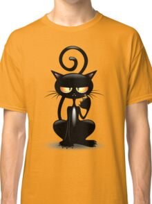 Cattish Angry Black Cat Cartoon Classic T-Shirt