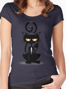 Cattish Angry Black Cat Cartoon Women's Fitted Scoop T-Shirt