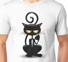 Cattish Angry Black Cat Cartoon Unisex T-Shirt