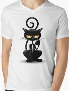Cattish Angry Black Cat Cartoon Mens V-Neck T-Shirt