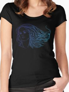 portrait of a woman with hippie-style hair. in blue colors Women's Fitted Scoop T-Shirt