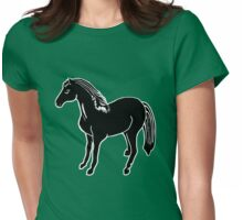 Black Horse Printmaking Art Womens Fitted T-Shirt