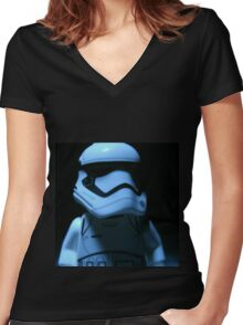 Lego First Order StormTrooper Women's Fitted V-Neck T-Shirt