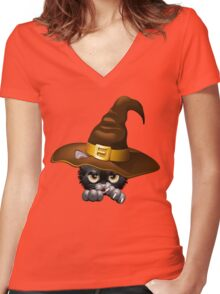 Black Kitty Cartoon With Witch Hat Women's Fitted V-Neck T-Shirt