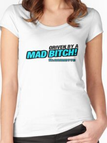 drive by a mad Bitch - Blue Women's Fitted Scoop T-Shirt