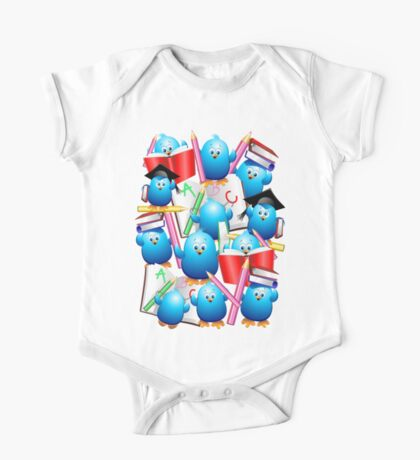 Back to School Cute Blue Birds One Piece - Short Sleeve