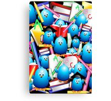 Back to School Cute Blue Birds Canvas Print