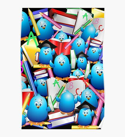 Back to School Cute Blue Birds Poster