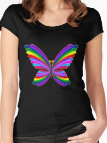 Butterfly Psychedelic Rainbow Women's Fitted Scoop T-Shirt