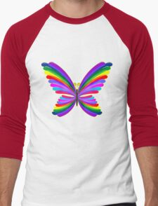Butterfly Psychedelic Rainbow Men's Baseball ¾ T-Shirt