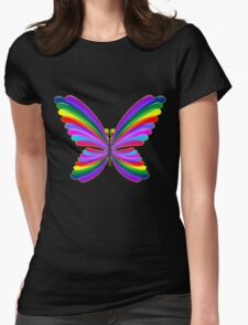 Butterfly Psychedelic Rainbow Womens Fitted T-Shirt