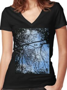 Look Up - Blue Women's Fitted V-Neck T-Shirt