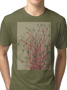 """""""Red twigs"""", pastel drawing, nature art, green, red, tree branches Tri-blend T-Shirt"""