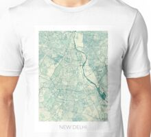 Delhi Map Blue Vintage Unisex T-Shirt
