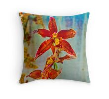 Orange against Blue Orchid Throw Pillow