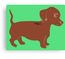 Brown Dachshund Printmaking Art Canvas Print