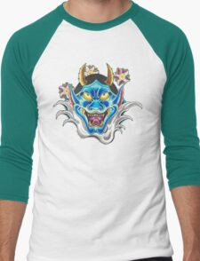Blue Hannya Men's Baseball ¾ T-Shirt