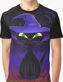 Cute black cat in a witch's hat design Graphic T-Shirt