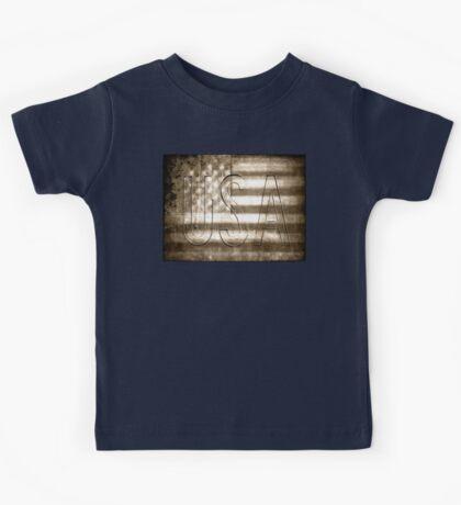 USA in Sepia Kids Tee