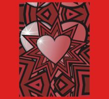 Pink Heart with Red Abstract Pattern Baby Tee