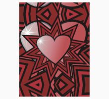 Pink Heart with Red Abstract Pattern One Piece - Short Sleeve
