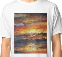 Impressionist Abstract Sunset Sunrise Ocean  Classic T-Shirt