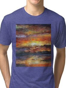 Impressionist Abstract Sunset Sunrise Ocean  Tri-blend T-Shirt