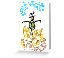 the black and green scarecrow Greeting Card