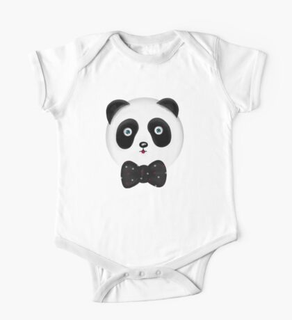 Cute panda with polka dot bowtie One Piece - Short Sleeve