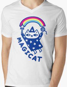 MAGICAT Mens V-Neck T-Shirt