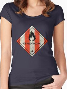 Launch flammable sign Women's Fitted Scoop T-Shirt