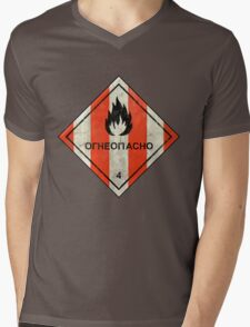 Launch flammable sign Mens V-Neck T-Shirt