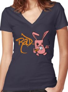 Rad bunny Women's Fitted V-Neck T-Shirt