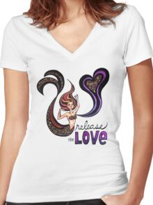 Release the Love: Watercolor Mermaid Original Illustration Women's Fitted V-Neck T-Shirt