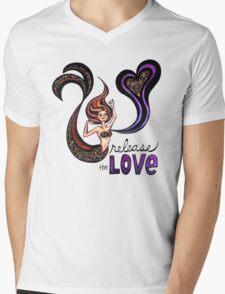 Release the Love: Watercolor Mermaid Original Illustration Mens V-Neck T-Shirt
