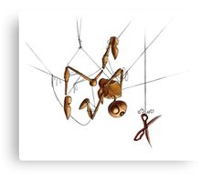 Creepy Puppet, Hanging with Scissors Canvas Print