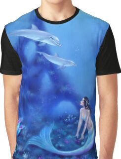 Ultramarine Mermaid & Dolphins Graphic T-Shirt