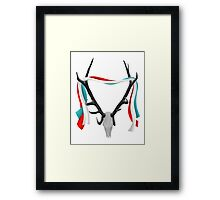 Deer Head With Patriotic Ribbons Framed Print