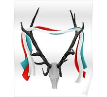 Deer Head With Patriotic Ribbons Poster