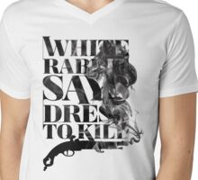 White Rabbit Says ~ Dress To Kill Mens V-Neck T-Shirt