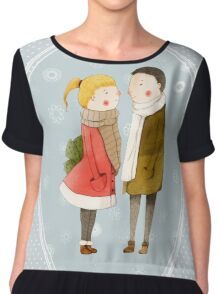 Lovers In The Snow Chiffon Top