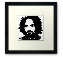 Charles Manson Face. Framed Print