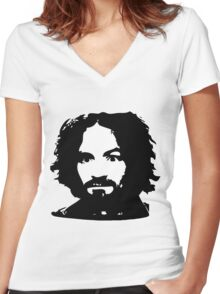 Charles Manson Face. Women's Fitted V-Neck T-Shirt